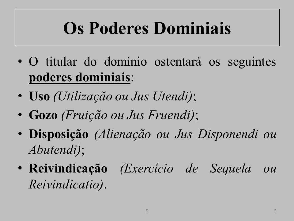 Os Poderes Dominiais Uso (Utilização): faculdade que outorga ao proprietário o poder de extrair de um bem os proveitos diretamente proporcionados pelo mesmo; em síntese, empregá-lo de acordo com a sua finalidade.