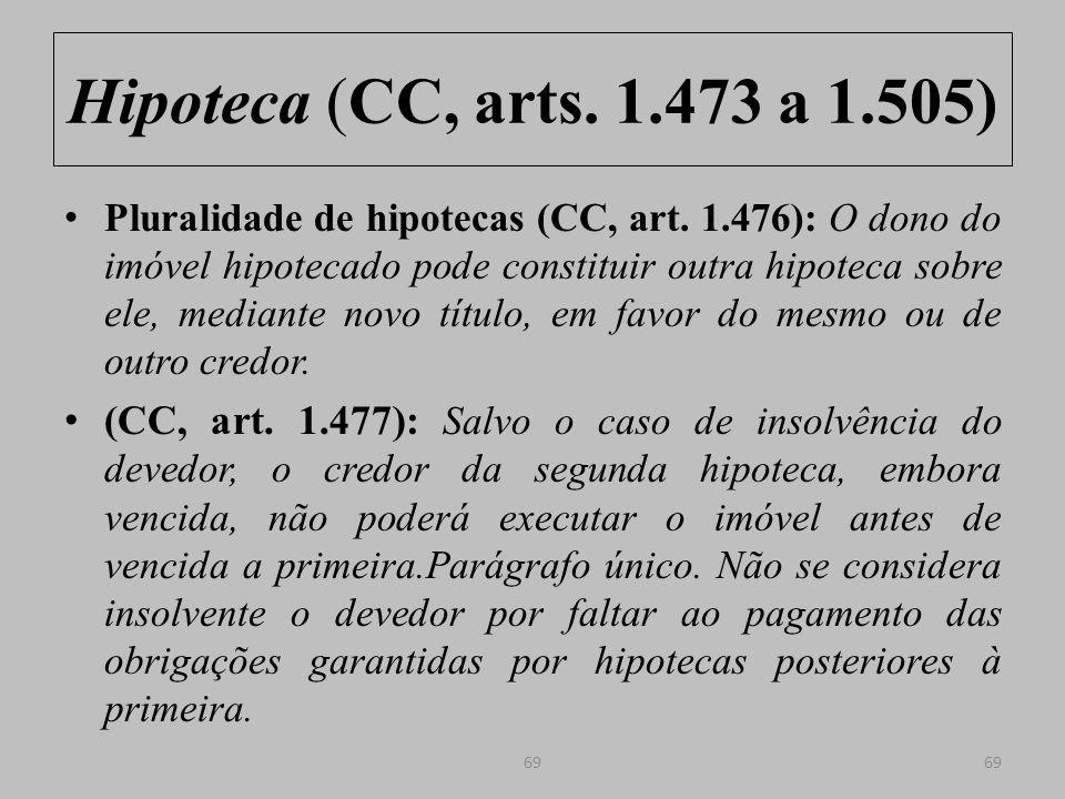 Hipoteca (CC, arts.1.473 a 1.505) Efeitos da hipoteca em relação ao devedor (CC, art.