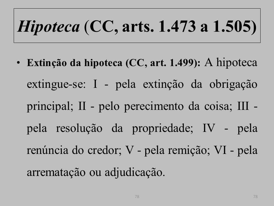 Hipoteca (CC, arts.1.473 a 1.505) Extinção da hipoteca (CC, arts.