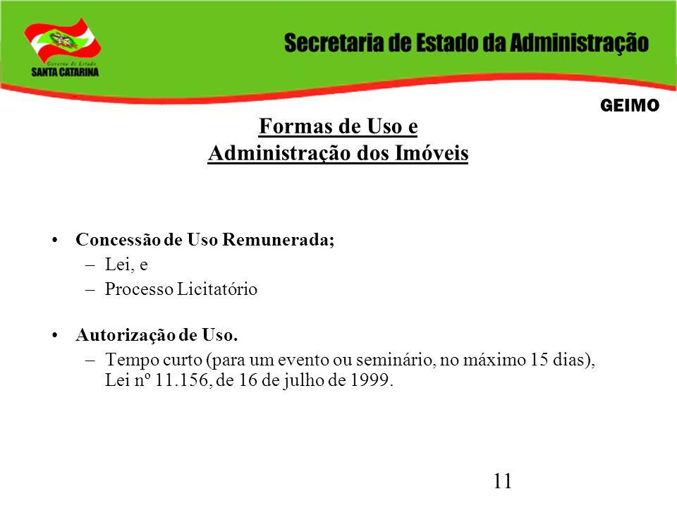 11 Formas de Uso e Administração dos Imóveis Concessão de Uso Remunerada; –Lei, e –Processo Licitatório Autorização de Uso. –Tempo curto (para um even