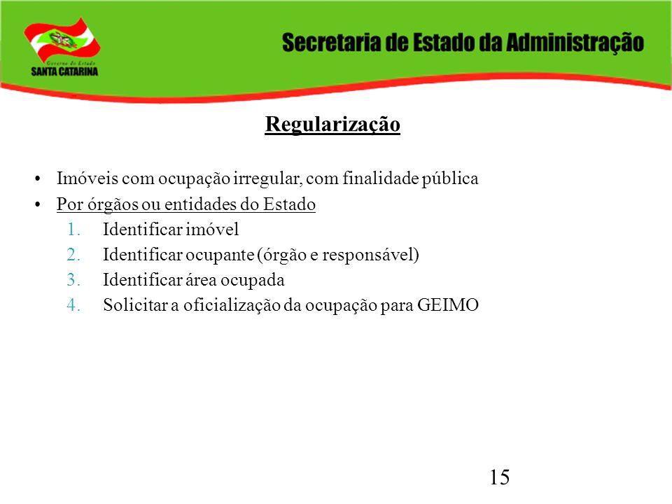 15 Regularização Imóveis com ocupação irregular, com finalidade pública Por órgãos ou entidades do Estado 1.Identificar imóvel 2.Identificar ocupante