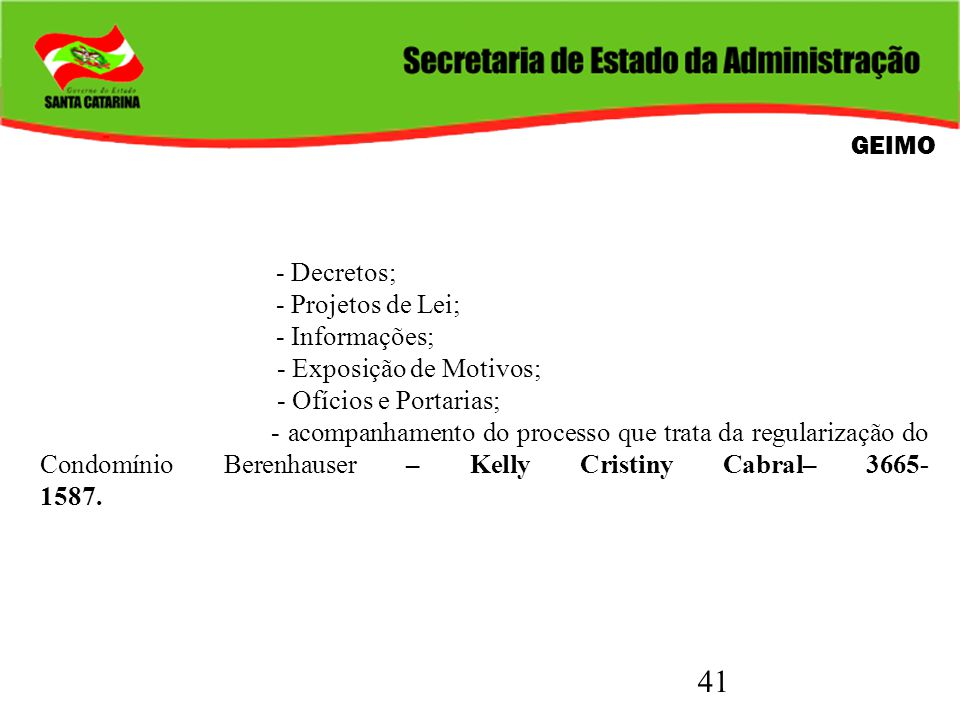 41 GEIMO - Decretos; - Projetos de Lei; - Informações; - Exposição de Motivos; - Ofícios e Portarias; - acompanhamento do processo que trata da regula