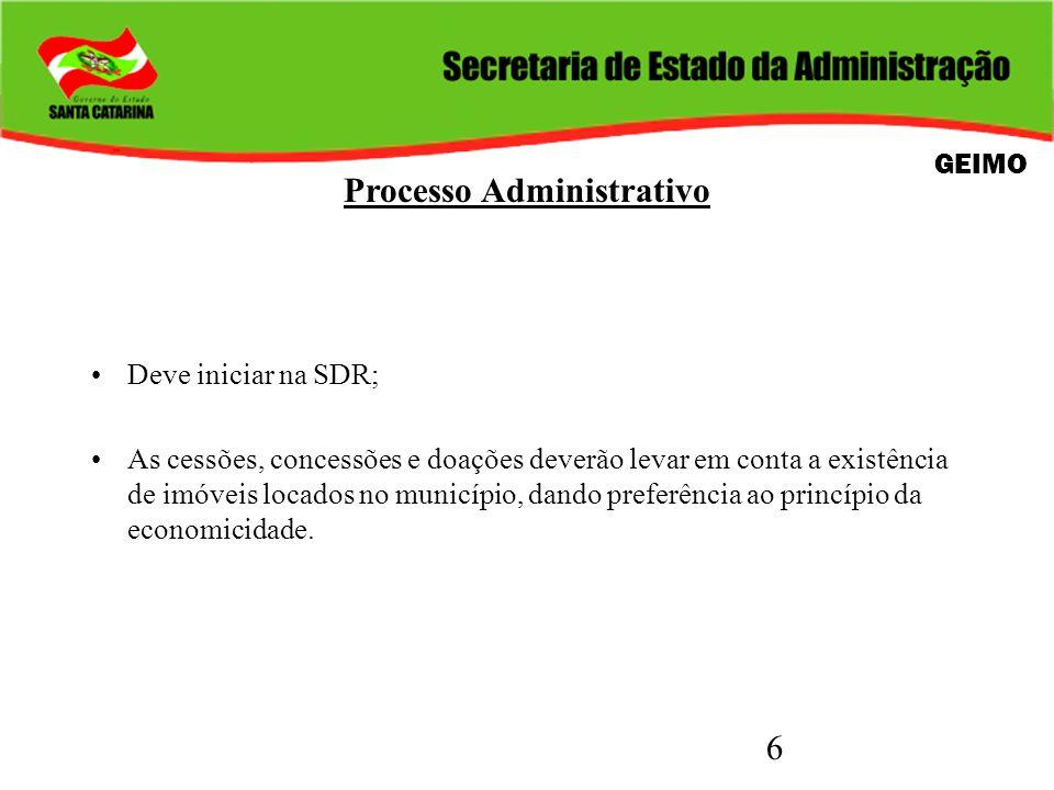 6 Processo Administrativo Deve iniciar na SDR; As cessões, concessões e doações deverão levar em conta a existência de imóveis locados no município, d