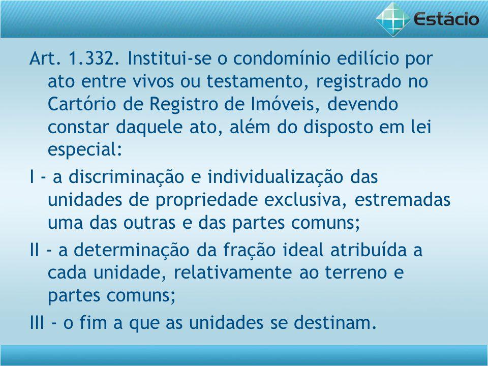 Art. 1.332. Institui-se o condomínio edilício por ato entre vivos ou testamento, registrado no Cartório de Registro de Imóveis, devendo constar daquel