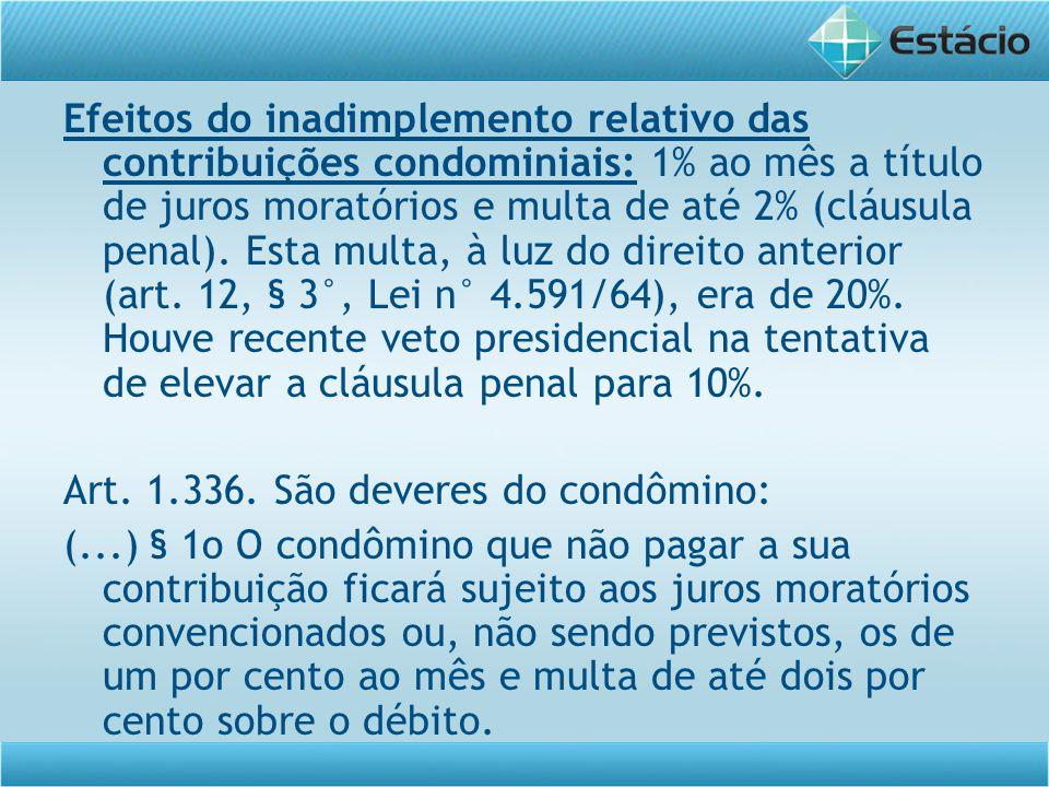 Efeitos do inadimplemento relativo das contribuições condominiais: 1% ao mês a título de juros moratórios e multa de até 2% (cláusula penal). Esta mul