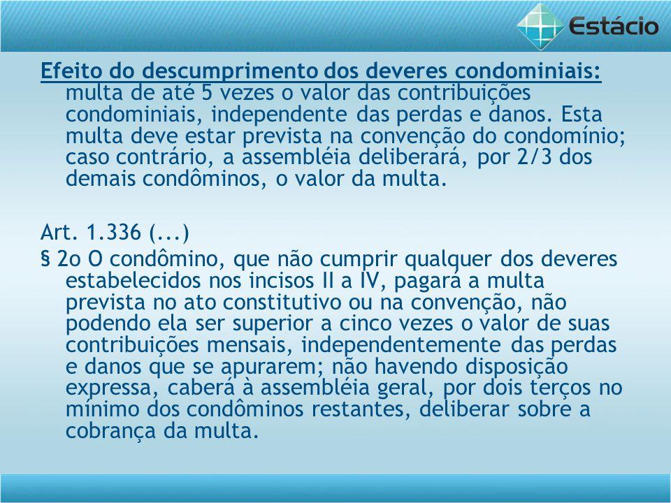 Efeito do descumprimento dos deveres condominiais: multa de até 5 vezes o valor das contribuições condominiais, independente das perdas e danos. Esta