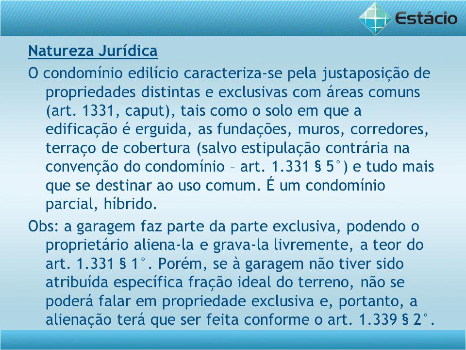 Natureza Jurídica O condomínio edilício caracteriza-se pela justaposição de propriedades distintas e exclusivas com áreas comuns (art. 1331, caput), t