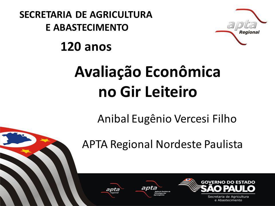 SECRETARIA DE AGRICULTURA E ABASTECIMENTO 120 anos Avaliação Econômica no Gir Leiteiro Anibal Eugênio Vercesi Filho APTA Regional Nordeste Paulista