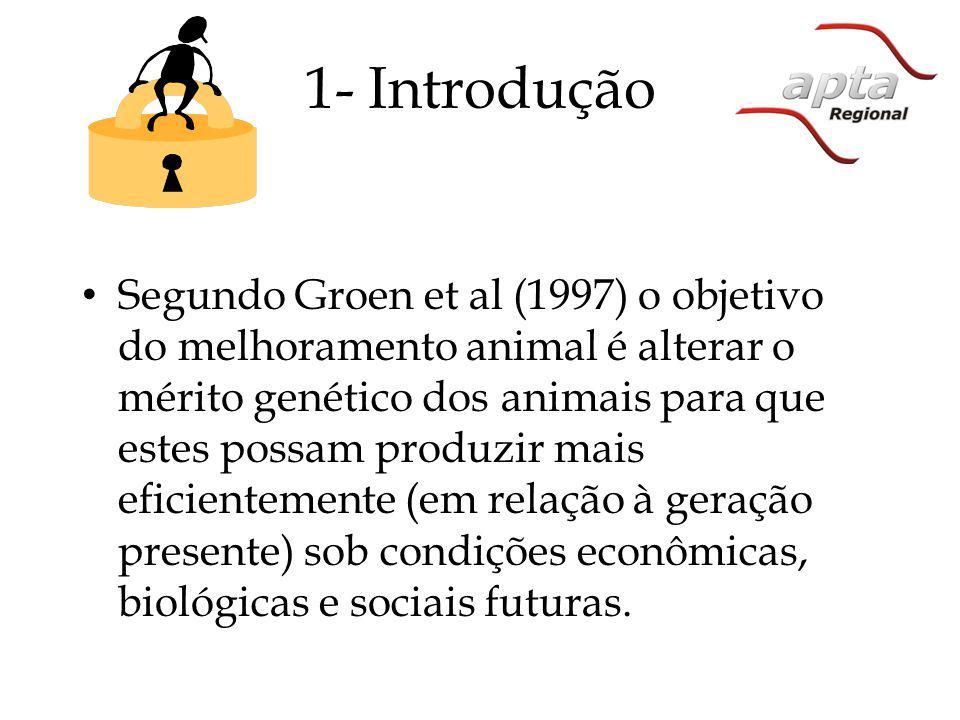 1- Introdução Segundo Groen et al (1997) o objetivo do melhoramento animal é alterar o mérito genético dos animais para que estes possam produzir mais