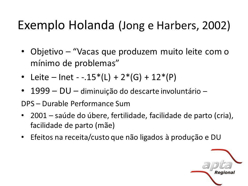 """Exemplo Holanda (Jong e Harbers, 2002) Objetivo – """"Vacas que produzem muito leite com o mínimo de problemas"""" Leite – Inet - -.15*(L) + 2*(G) + 12*(P)"""