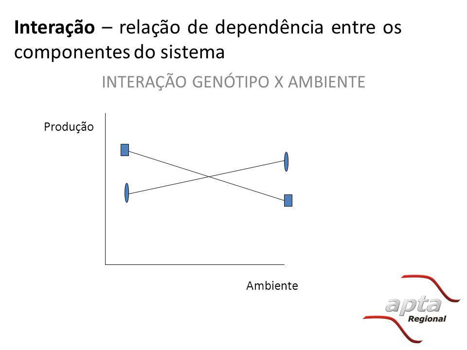 Interação – relação de dependência entre os componentes do sistema INTERAÇÃO GENÓTIPO X AMBIENTE Produção Ambiente