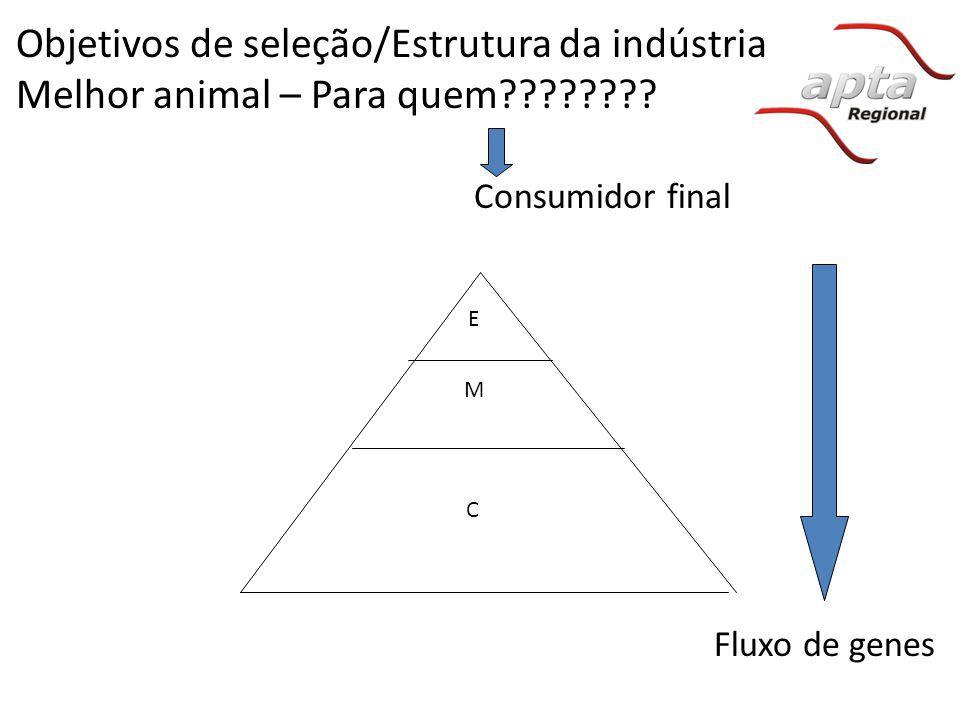 Objetivos de seleção/Estrutura da indústria Melhor animal – Para quem???????? E M C Fluxo de genes Consumidor final