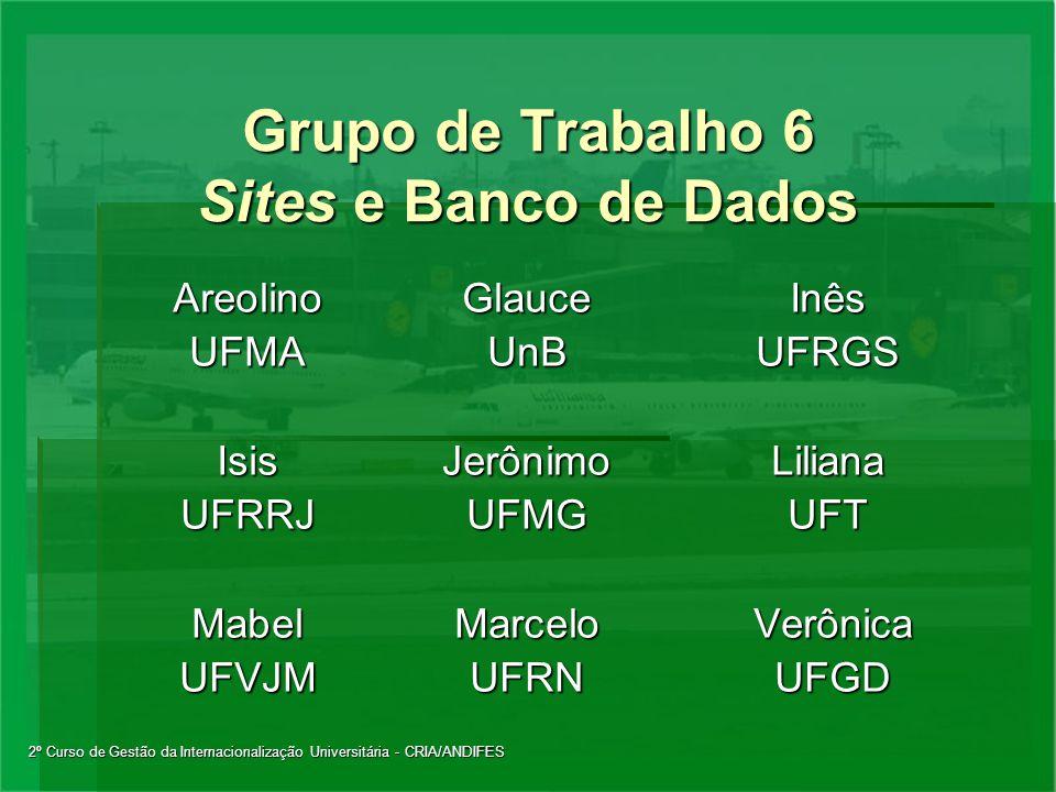 2º Curso de Gestão da Internacionalização Universitária - CRIA/ANDIFES Grupo de Trabalho 6 Sites e Banco de Dados AreolinoGlauceInês UFMAUnBUFRGS Isis