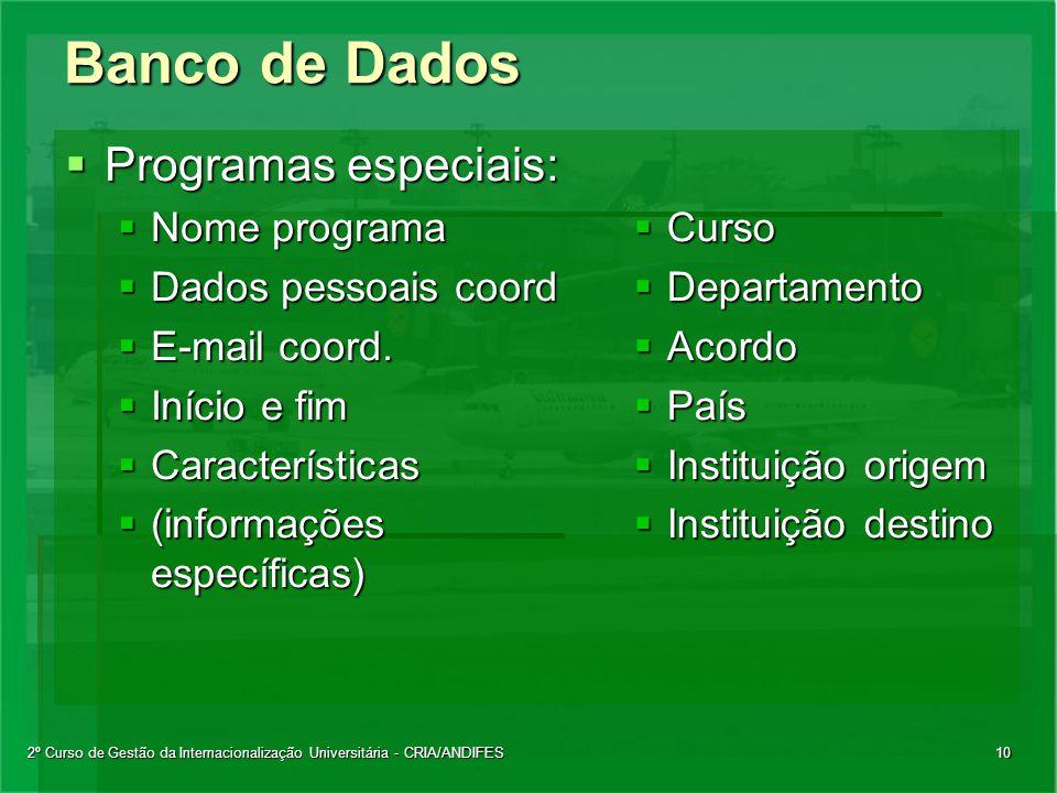 2º Curso de Gestão da Internacionalização Universitária - CRIA/ANDIFES10 Banco de Dados  Programas especiais:  Nome programa  Dados pessoais coord  E-mail coord.
