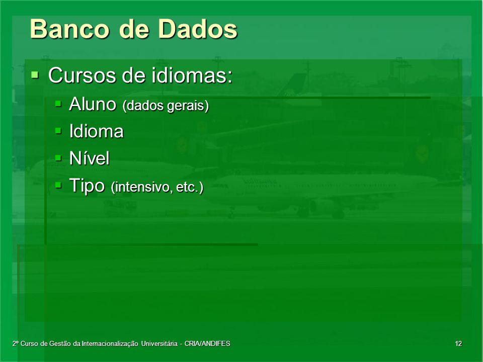 2º Curso de Gestão da Internacionalização Universitária - CRIA/ANDIFES12 Banco de Dados  Cursos de idiomas:  Aluno (dados gerais)  Idioma  Nível  Tipo (intensivo, etc.)