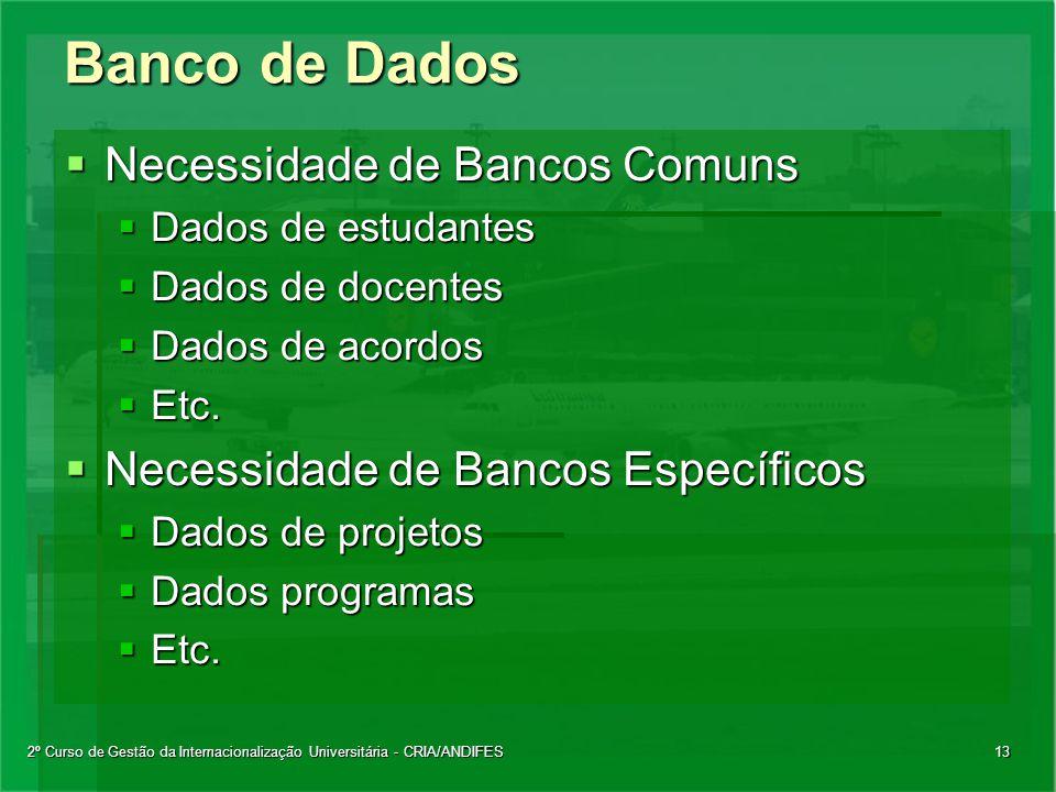 2º Curso de Gestão da Internacionalização Universitária - CRIA/ANDIFES13 Banco de Dados  Necessidade de Bancos Comuns  Dados de estudantes  Dados de docentes  Dados de acordos  Etc.