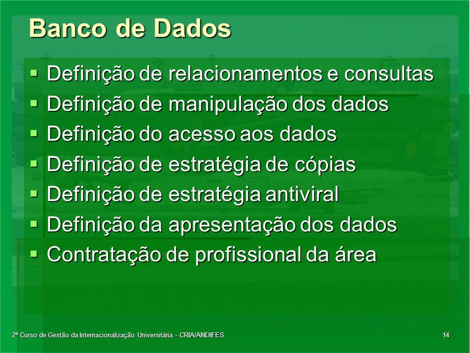 2º Curso de Gestão da Internacionalização Universitária - CRIA/ANDIFES14 Banco de Dados  Definição de relacionamentos e consultas  Definição de mani