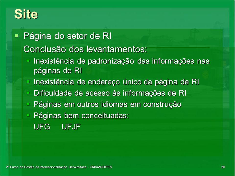 2º Curso de Gestão da Internacionalização Universitária - CRIA/ANDIFES20Site  Página do setor de RI Conclusão dos levantamentos:  Inexistência de pa