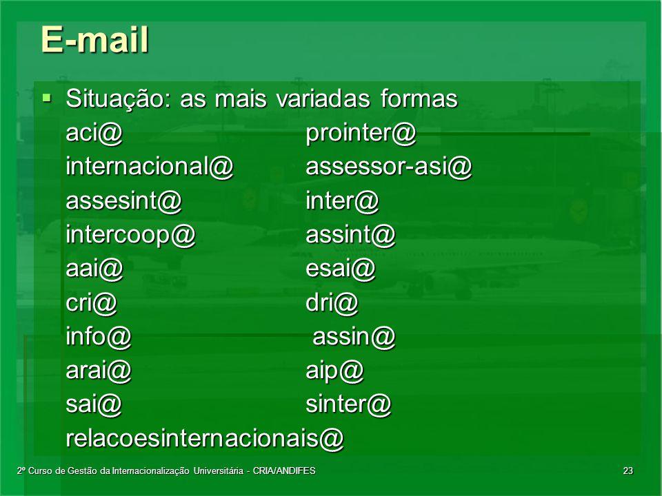 2º Curso de Gestão da Internacionalização Universitária - CRIA/ANDIFES23E-mail  Situação: as mais variadas formas aci@prointer@ internacional@assesso