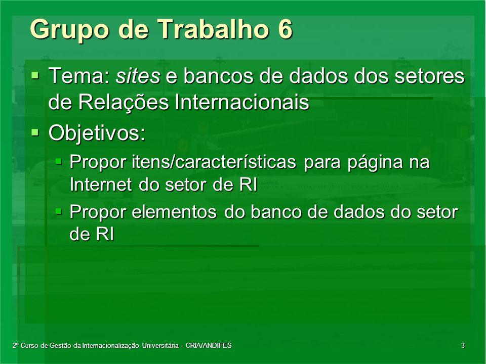 2º Curso de Gestão da Internacionalização Universitária - CRIA/ANDIFES3 Grupo de Trabalho 6  Tema: sites e bancos de dados dos setores de Relações In