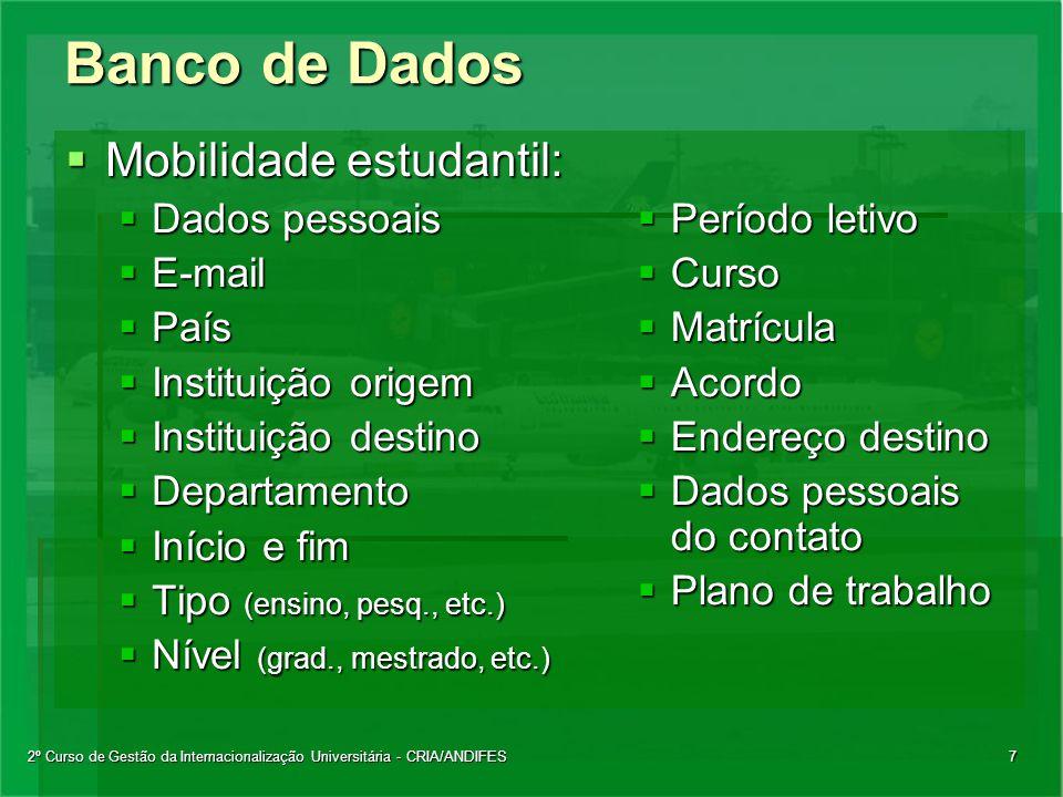 2º Curso de Gestão da Internacionalização Universitária - CRIA/ANDIFES7 Banco de Dados  Mobilidade estudantil:  Dados pessoais  E-mail  País  Ins