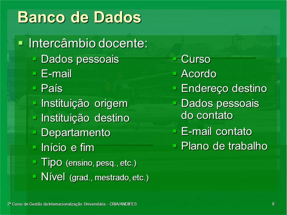 2º Curso de Gestão da Internacionalização Universitária - CRIA/ANDIFES8 Banco de Dados  Intercâmbio docente:  Dados pessoais  E-mail  País  Insti