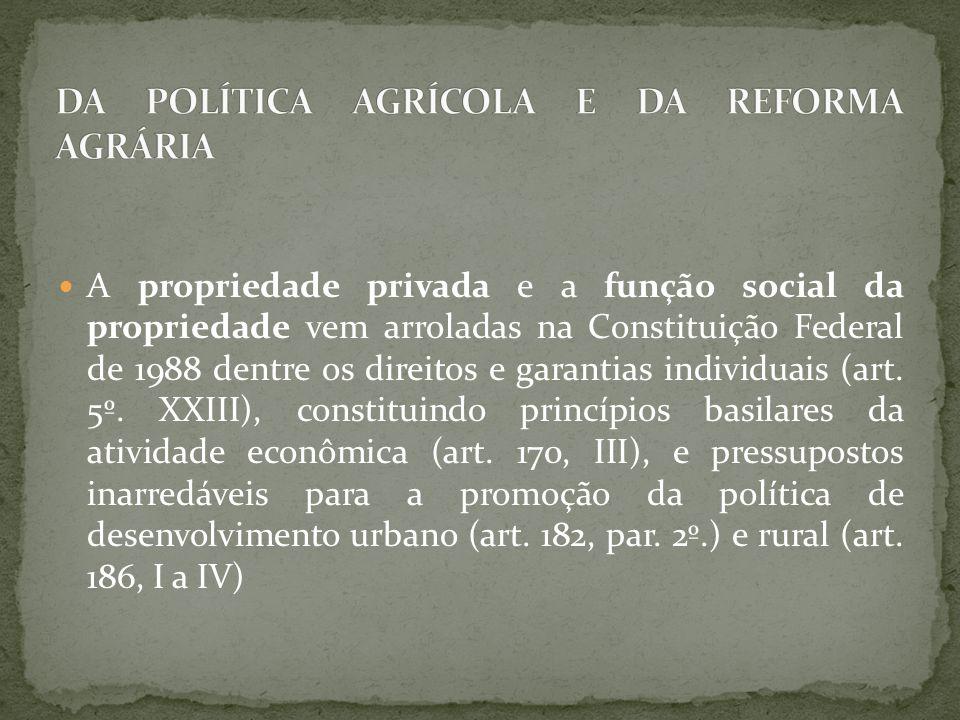 A propriedade privada e a função social da propriedade vem arroladas na Constituição Federal de 1988 dentre os direitos e garantias individuais (art.