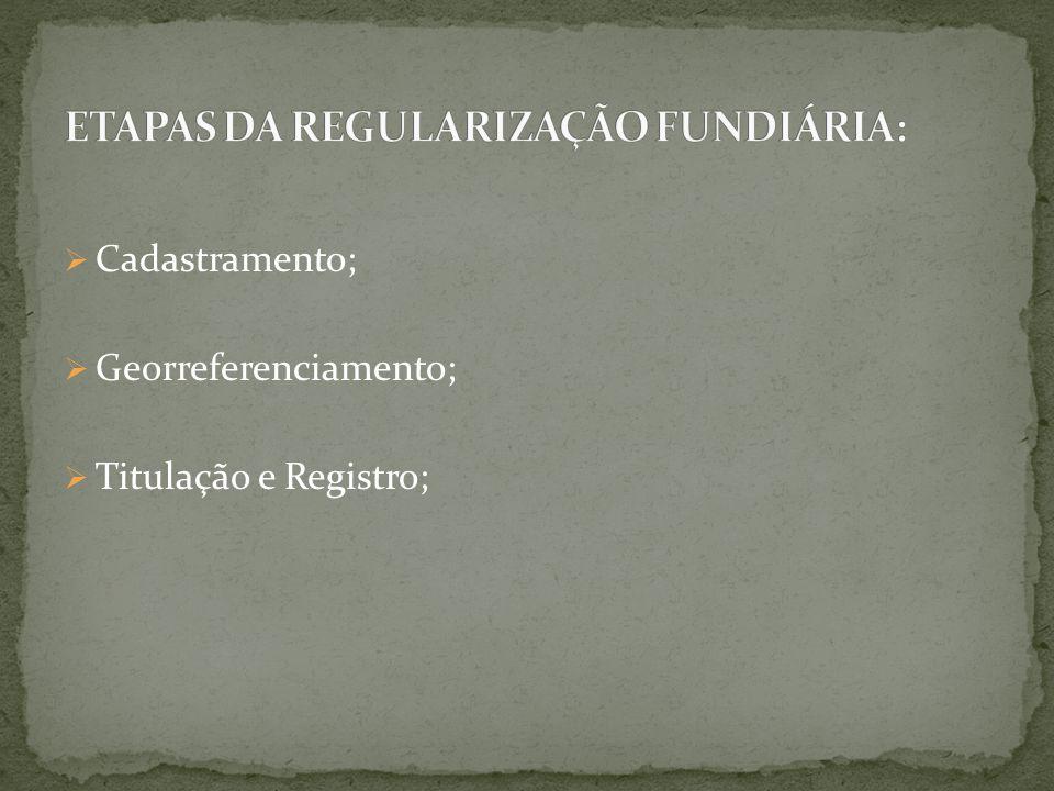  Cadastramento;  Georreferenciamento;  Titulação e Registro;