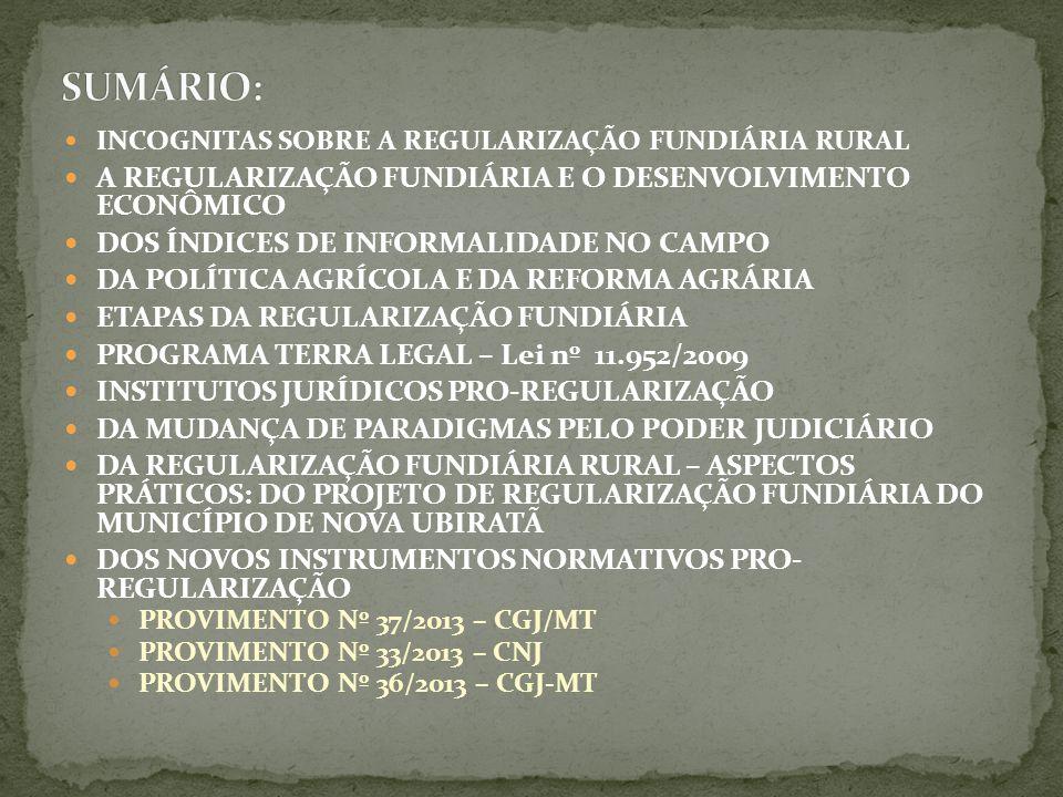 INCOGNITAS SOBRE A REGULARIZAÇÃO FUNDIÁRIA RURAL A REGULARIZAÇÃO FUNDIÁRIA E O DESENVOLVIMENTO ECONÔMICO DOS ÍNDICES DE INFORMALIDADE NO CAMPO DA POLÍTICA AGRÍCOLA E DA REFORMA AGRÁRIA ETAPAS DA REGULARIZAÇÃO FUNDIÁRIA PROGRAMA TERRA LEGAL – Lei nº 11.952/2009 INSTITUTOS JURÍDICOS PRO-REGULARIZAÇÃO DA MUDANÇA DE PARADIGMAS PELO PODER JUDICIÁRIO DA REGULARIZAÇÃO FUNDIÁRIA RURAL – ASPECTOS PRÁTICOS: DO PROJETO DE REGULARIZAÇÃO FUNDIÁRIA DO MUNICÍPIO DE NOVA UBIRATÃ DOS NOVOS INSTRUMENTOS NORMATIVOS PRO- REGULARIZAÇÃO PROVIMENTO Nº 37/2013 – CGJ/MT PROVIMENTO Nº 33/2013 – CNJ PROVIMENTO Nº 36/2013 – CGJ-MT
