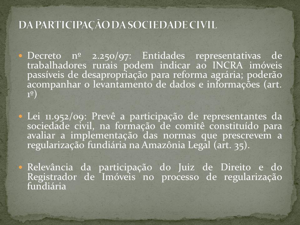 Decreto nº 2.250/97: Entidades representativas de trabalhadores rurais podem indicar ao INCRA imóveis passíveis de desapropriação para reforma agrária; poderão acompanhar o levantamento de dados e informações (art.