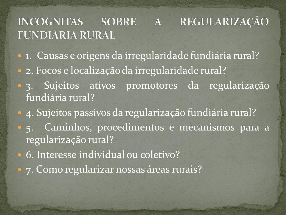 1. Causas e origens da irregularidade fundiária rural? 2. Focos e localização da irregularidade rural? 3. Sujeitos ativos promotores da regularização