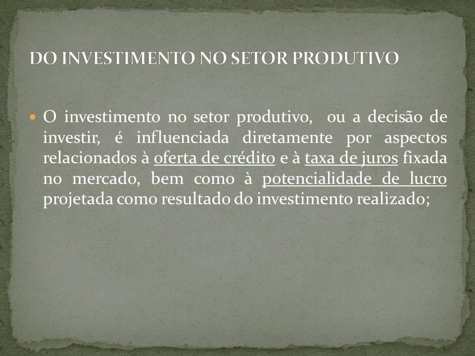O investimento no setor produtivo, ou a decisão de investir, é influenciada diretamente por aspectos relacionados à oferta de crédito e à taxa de juro