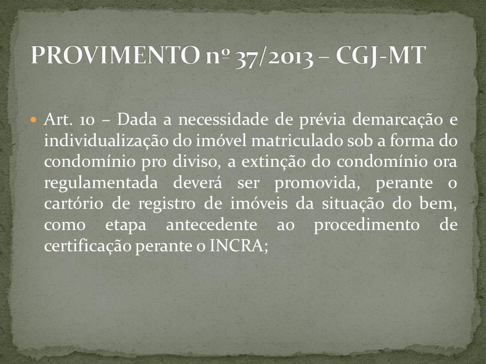 Art. 10 – Dada a necessidade de prévia demarcação e individualização do imóvel matriculado sob a forma do condomínio pro diviso, a extinção do condomí