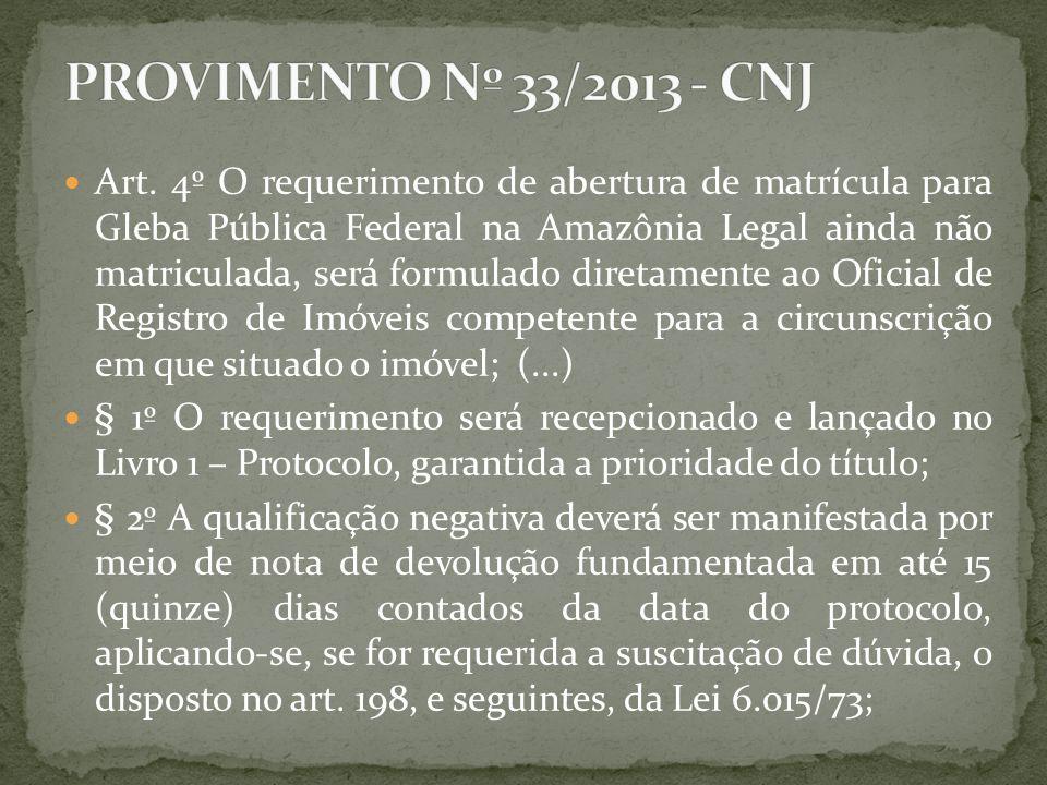 Art. 4º O requerimento de abertura de matrícula para Gleba Pública Federal na Amazônia Legal ainda não matriculada, será formulado diretamente ao Ofic