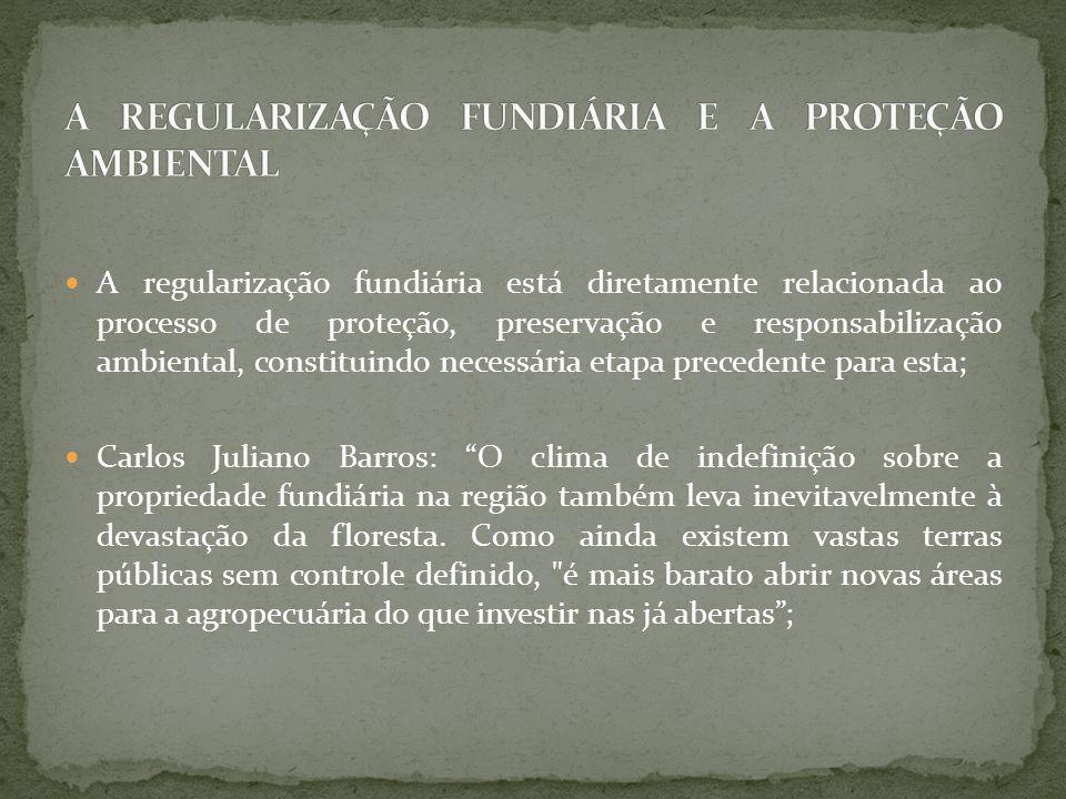 A regularização fundiária está diretamente relacionada ao processo de proteção, preservação e responsabilização ambiental, constituindo necessária etapa precedente para esta; Carlos Juliano Barros: O clima de indefinição sobre a propriedade fundiária na região também leva inevitavelmente à devastação da floresta.