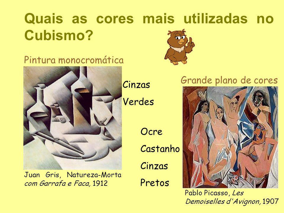 Quais as cores mais utilizadas no Cubismo? Cinzas Verdes Ocre Castanho Cinzas Pretos Grande plano de cores Juan Gris, Natureza-Morta com Garrafa e Fac