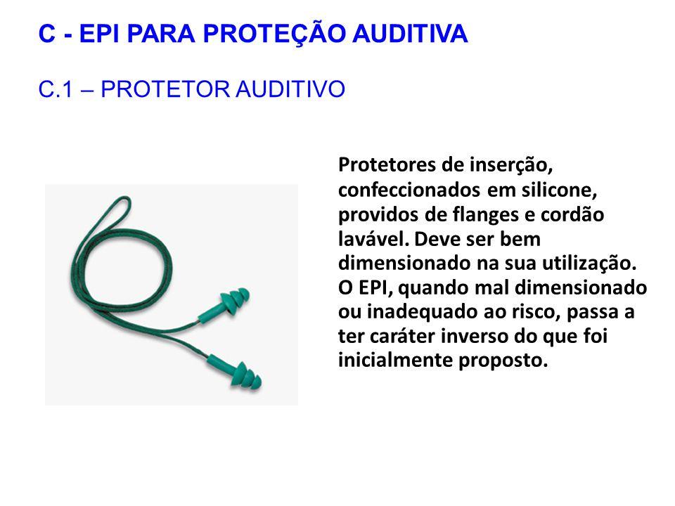 C - EPI PARA PROTEÇÃO AUDITIVA C.1 – PROTETOR AUDITIVO Protetores de inserção, confeccionados em silicone, providos de flanges e cordão lavável.