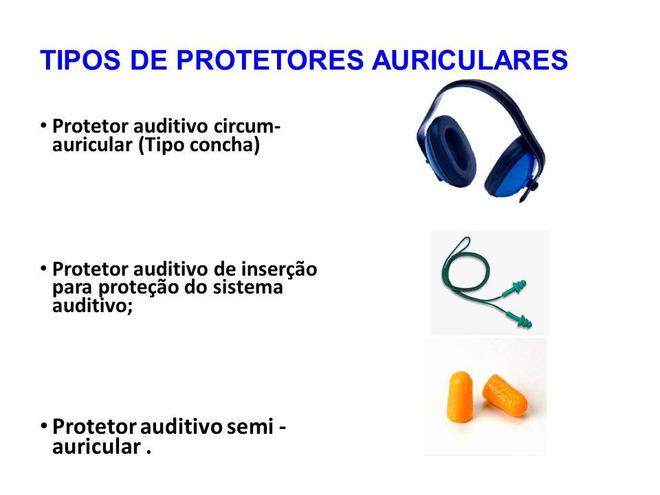 TIPOS DE PROTETORES AURICULARES Protetor auditivo circum- auricular (Tipo concha) Protetor auditivo de inserção para proteção do sistema auditivo; Protetor auditivo semi - auricular.