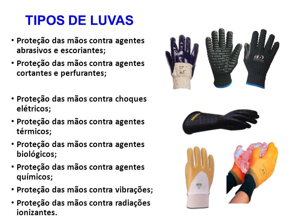 TIPOS DE LUVAS Proteção das mãos contra agentes abrasivos e escoriantes; Proteção das mãos contra agentes cortantes e perfurantes; Proteção das mãos c