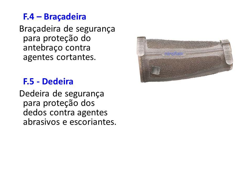 F.4 – Braçadeira Braçadeira de segurança para proteção do antebraço contra agentes cortantes. F.5 - Dedeira Dedeira de segurança para proteção dos ded