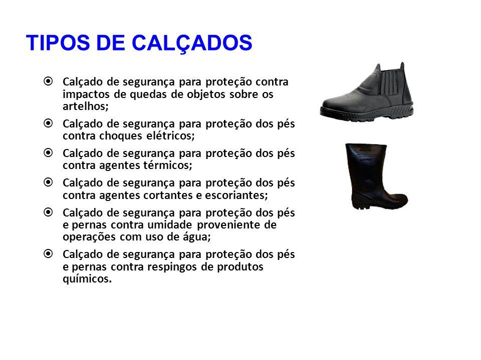 TIPOS DE CALÇADOS  Calçado de segurança para proteção contra impactos de quedas de objetos sobre os artelhos;  Calçado de segurança para proteção do