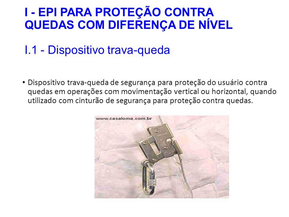 I - EPI PARA PROTEÇÃO CONTRA QUEDAS COM DIFERENÇA DE NÍVEL I.1 - Dispositivo trava-queda Dispositivo trava-queda de segurança para proteção do usuário