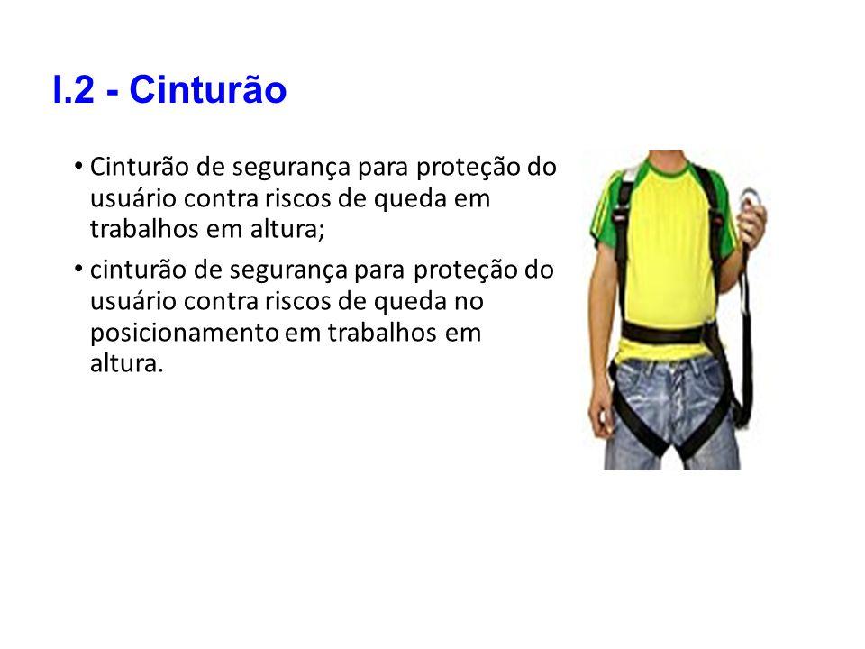 I.2 - Cinturão Cinturão de segurança para proteção do usuário contra riscos de queda em trabalhos em altura; cinturão de segurança para proteção do us