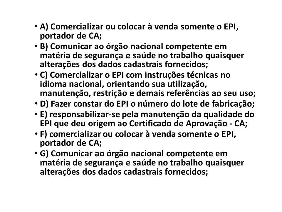 A) Comercializar ou colocar à venda somente o EPI, portador de CA; B) Comunicar ao órgão nacional competente em matéria de segurança e saúde no trabal