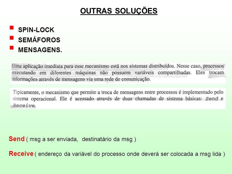 OUTRAS SOLUÇÕES  SPIN-LOCK  SEMÁFOROS  MENSAGENS.