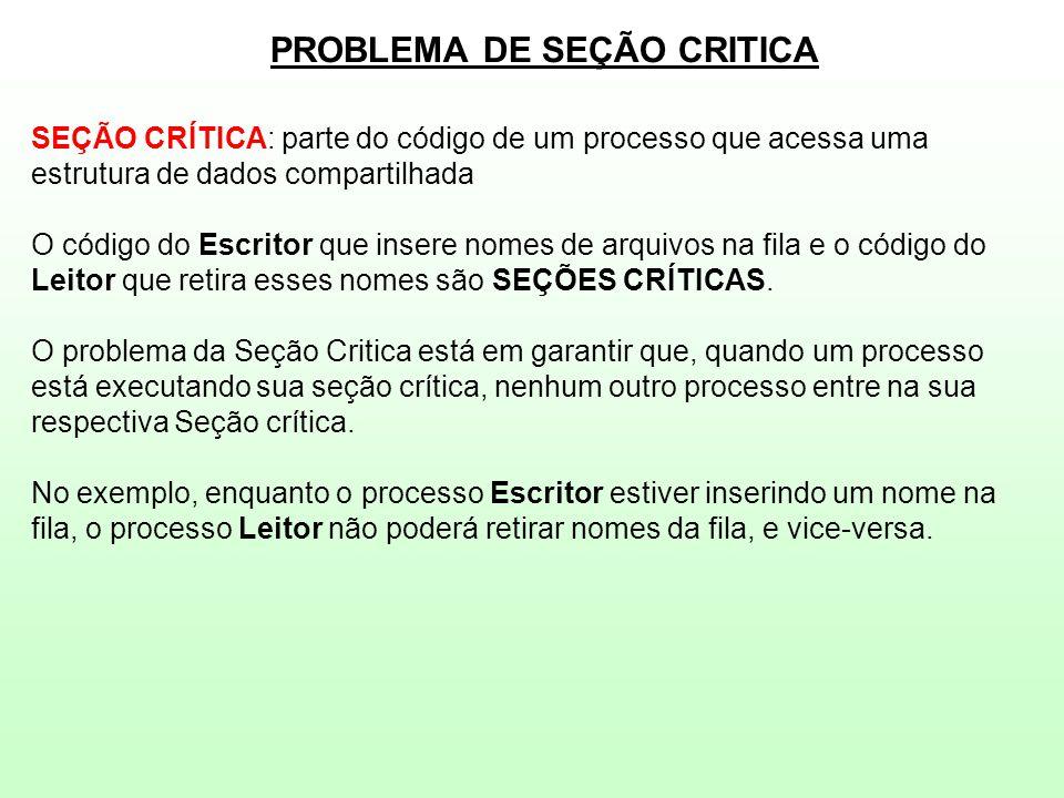 PROBLEMA DE SEÇÃO CRITICA