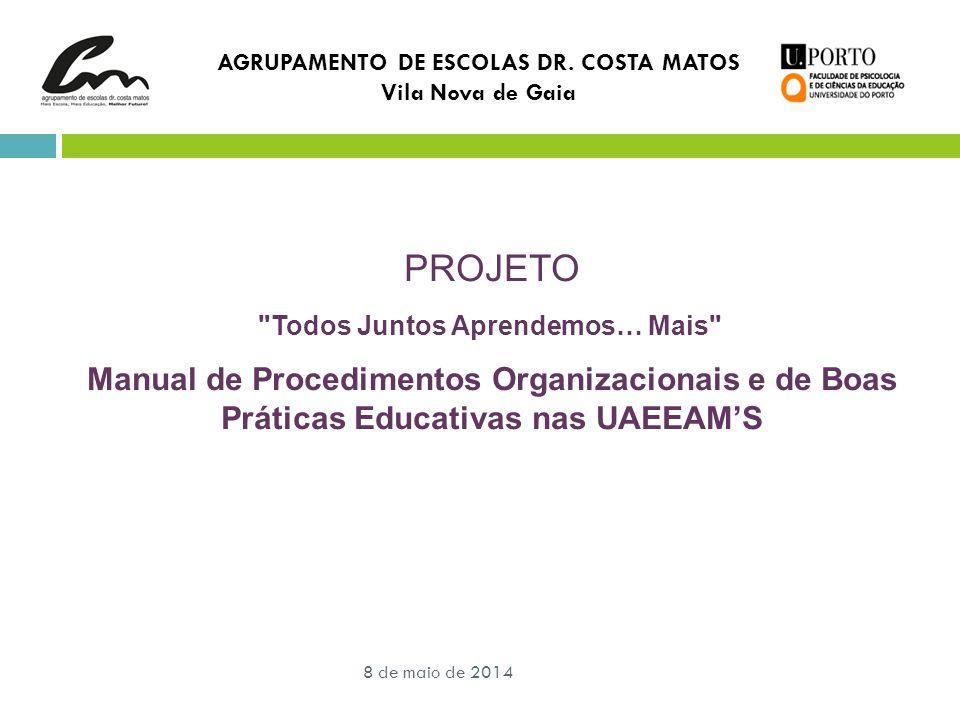 AGRUPAMENTO DE ESCOLAS DR. COSTA MATOS Vila Nova de Gaia 8 de maio de 2014 PROJETO
