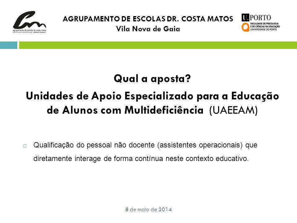 8 de maio de 2014 Qual a aposta? Unidades de Apoio Especializado para a Educação de Alunos com Multideficiência (UAEEAM)  Qualificação do pessoal não
