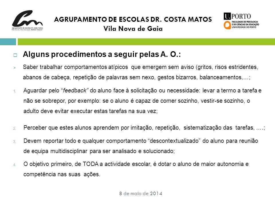 AGRUPAMENTO DE ESCOLAS DR. COSTA MATOS Vila Nova de Gaia  Alguns procedimentos a seguir pelas A. O.:  Saber trabalhar comportamentos atípicos que em