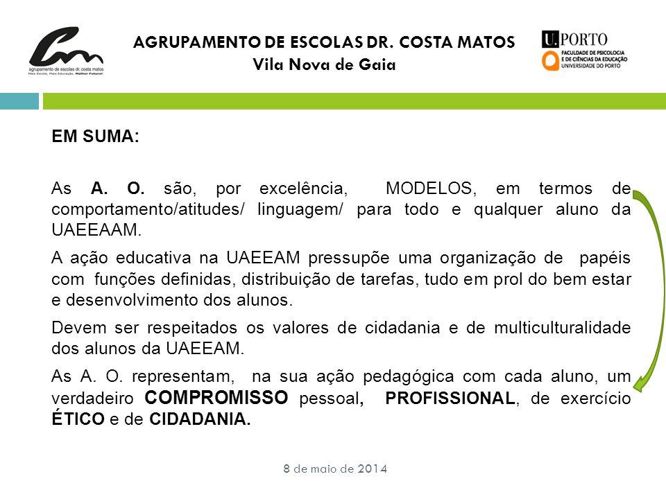 AGRUPAMENTO DE ESCOLAS DR. COSTA MATOS Vila Nova de Gaia EM SUMA: As A. O. são, por excelência, MODELOS, em termos de comportamento/atitudes/ linguage